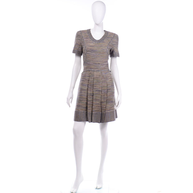 Chanel Spring Summer 2015 Multicolored Tweed Dress short sleeve