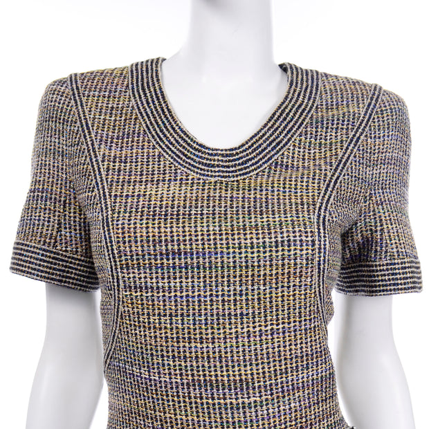 Chanel Spring Summer 2015 Multicolored Tweed short sleeve Dress