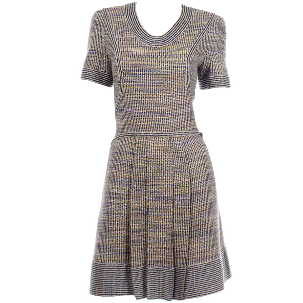 Chanel Spring Summer 2015 Multicolored Tweed Dress lined in silk logo camellia