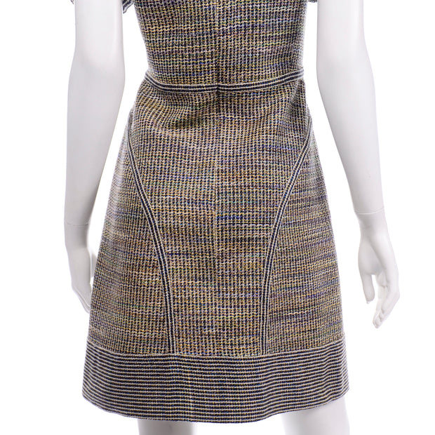 Chanel Spring Summer 2015 Multicolored Tweed short sleeve day Dress