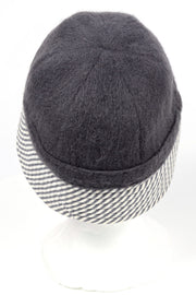 1950s Child's De Pinna Grey Wool Cap Hat w/ Grey & White Stripes