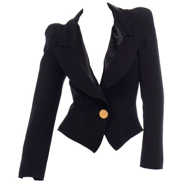 1980s Christian Lacroix Black Fitted Blazer Jacket W Medallion Button