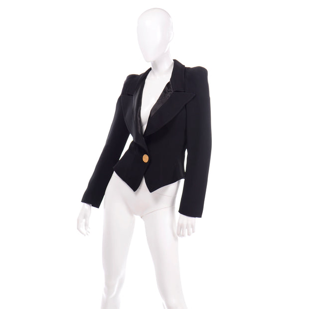 80s 1980s Christian Lacroix Black Fitted Blazer Jacket W Medallion Button