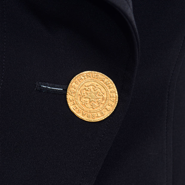 1980s Christian Lacroix Black Fitted Blazer Jacket W Medallion Button evening