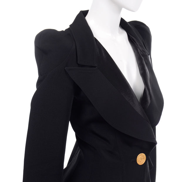 Cinched Waist 1980s Christian Lacroix Black Fitted Blazer Jacket W Medallion Button