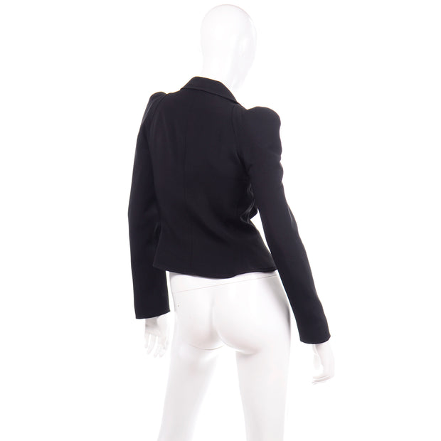 1980s Christian Lacroix Black Fitted Blazer Evening Jacket W Medallion Button
