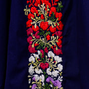 1970's Hand Embroidered Navy Blue Oaxacan Mexican Dress
