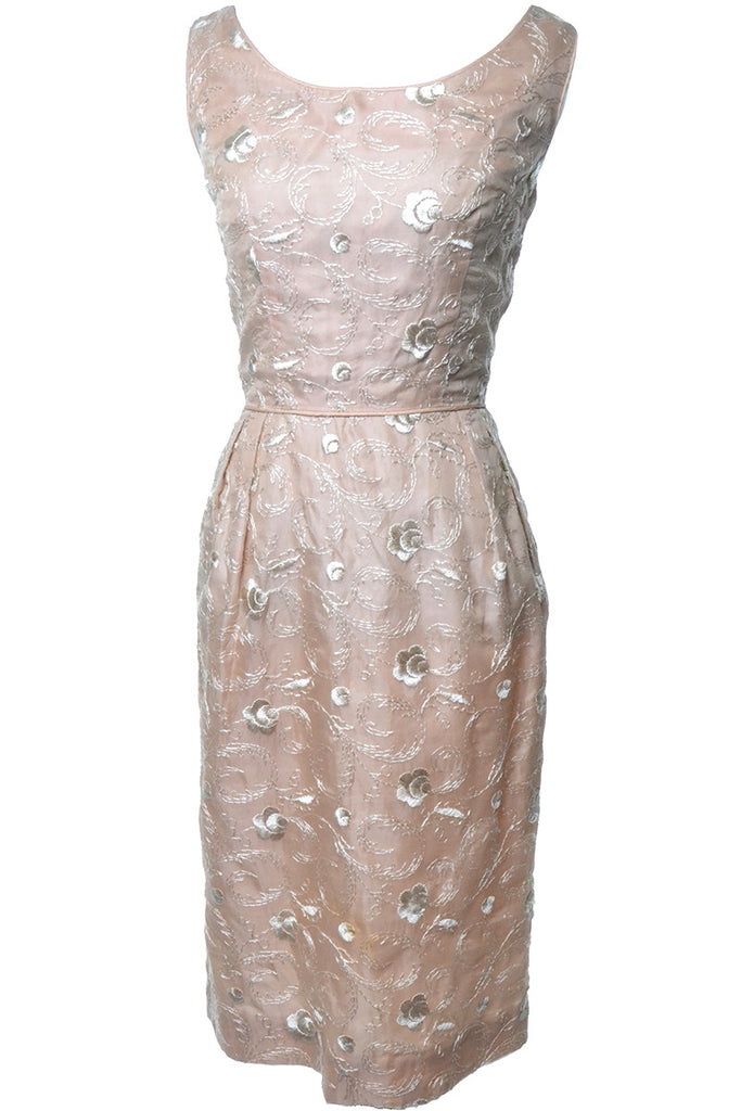 1960s Gay Gibson Vintage Pink Silk Dress with Floral Embroidery Size 6