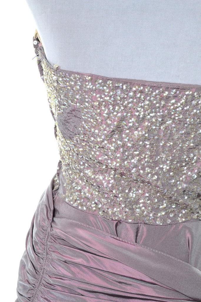 1940s Vintage Irridescent Purple Evening Gown Sequined Bodice Side Swag