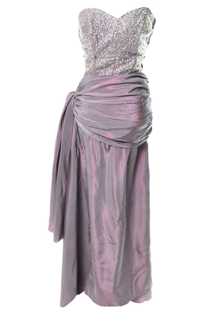 1940s Vintage Irridescent Purple Evening Gown Sequined Bodice Side ...
