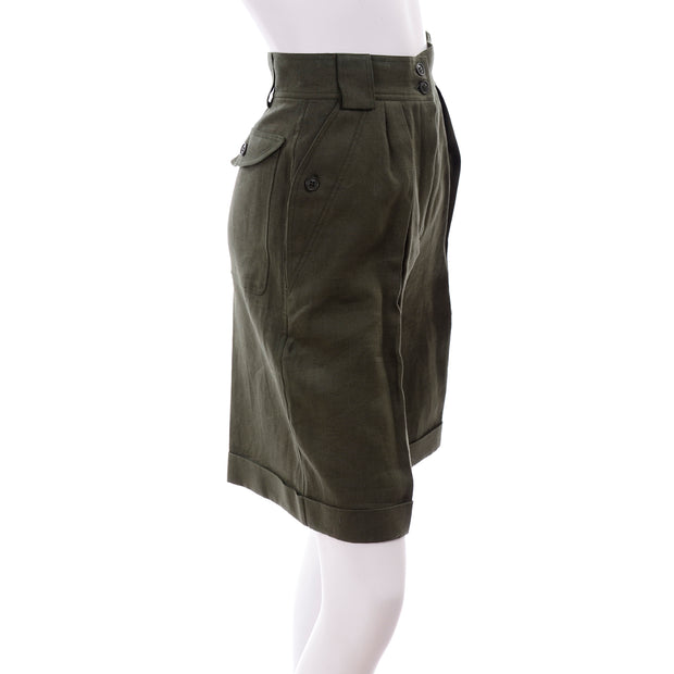 High waisted Escada army green linen shorts