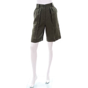 Vintage linen shorts in army green cotton