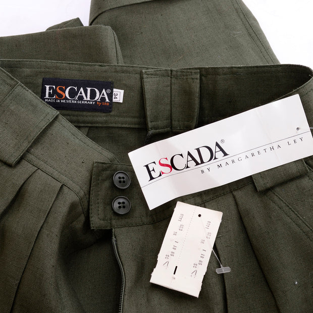 1980s Escada Army Green Linen High Waisted Shorts Deadstock 4