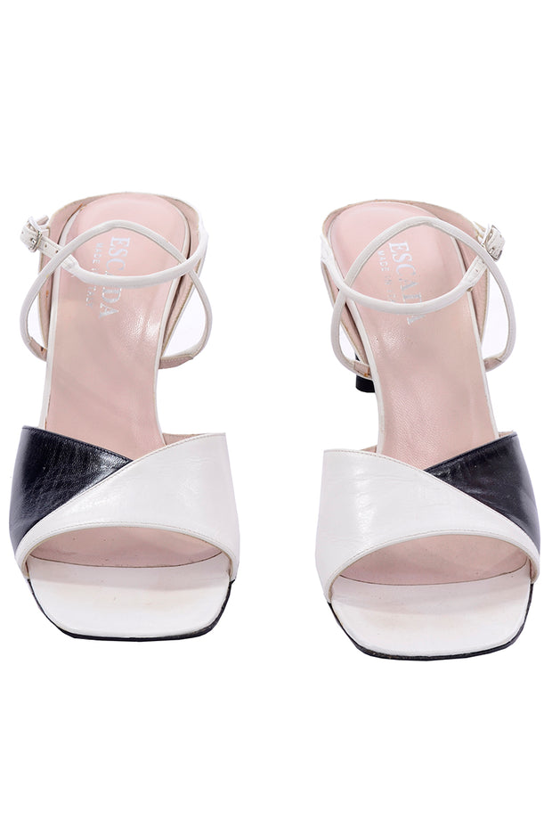 Escada Vintage 8.5 Black and White Sandals Shoes