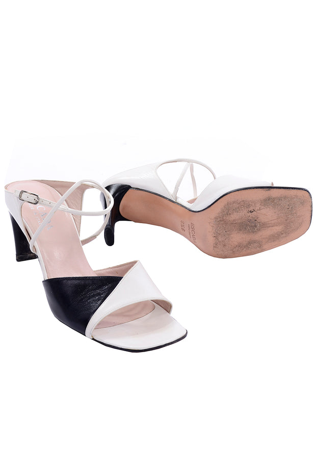 Escada Vintage 8.5 Black and White Heels Shoes