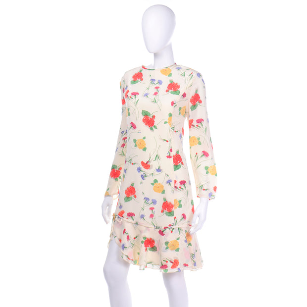 Vintage Galant Cream Floral Silk Jersey Dress with red and yellow carnations and flounce hem