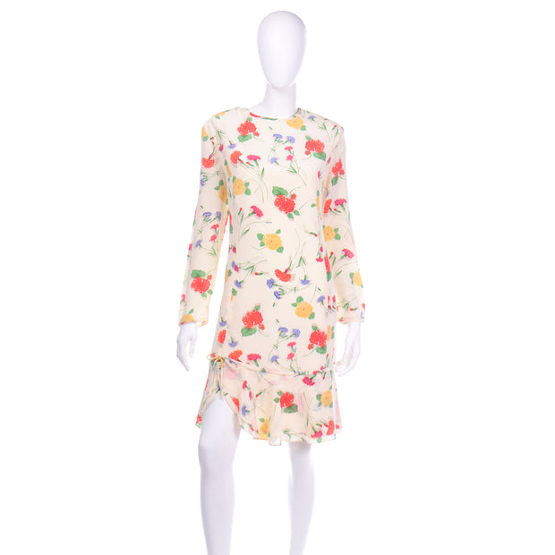 Vintage Galant Cream Floral Silk Jersey Dress Red Yellow Carnations