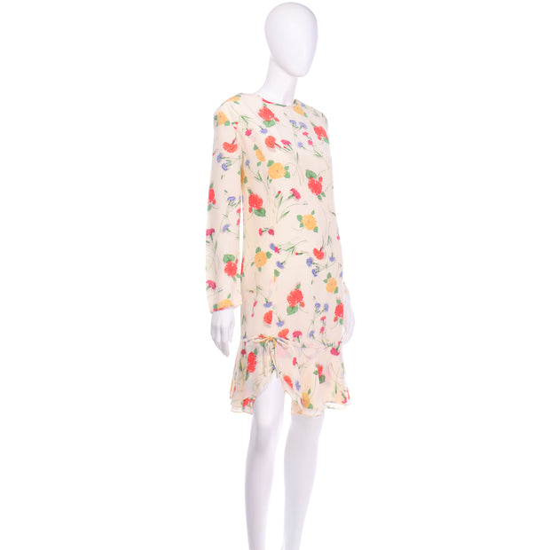 Vintage Galant Cream Floral Silk Jersey Dress colorful print