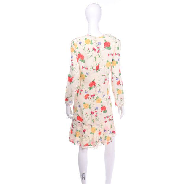 Colorful Vintage Galant Cream Floral Silk Jersey Dress