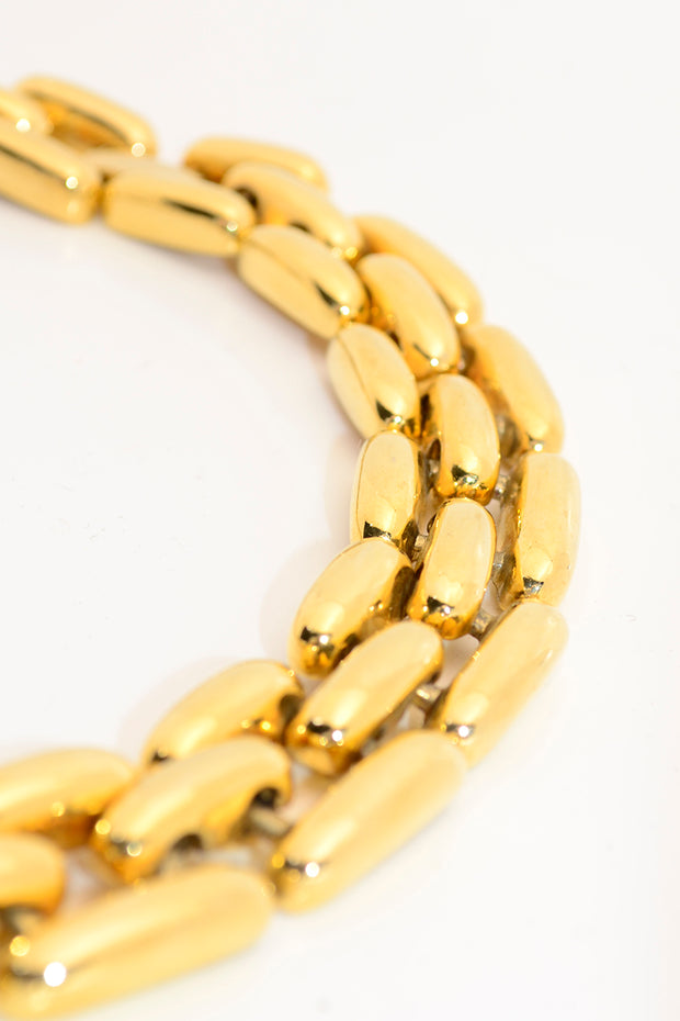 1980s Wide Gold Chunky Rice Link Choker Necklace