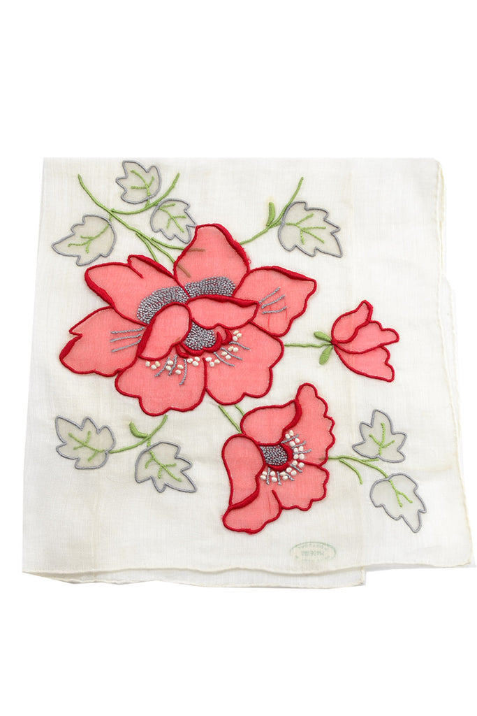 Madeira Portugal Vintage Handkerchief New With Tag Flower - Dressing Vintage