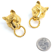 1980s Kenneth J Lane vintage panther lion gold earrings