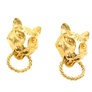 Kenneth J Lane vintage panther lion gold earrings signed
