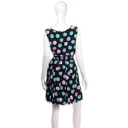 Louis Feraud Black Circle Patterned 2pc Vintage Dress
