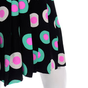 Louis Feraud Knife Pleated Silk Skirt with mint and pink target print