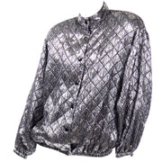Jeanette for St. Martin Vintage Silver Pewter Metallic Quilted Bomber Jacket