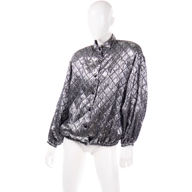 Jeanette for St. Martin Vintage Silver Metallic Quilted Jacket