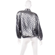 1980s Jeanette for St. Martin Vintage Silver Quilted Metallic Jacket