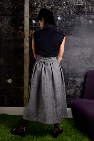 1980's Wool Gray Midi Skirt Size 10