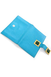 Vintage Modernist Geometric Leather Art Handbag With Blue & Green Wallet