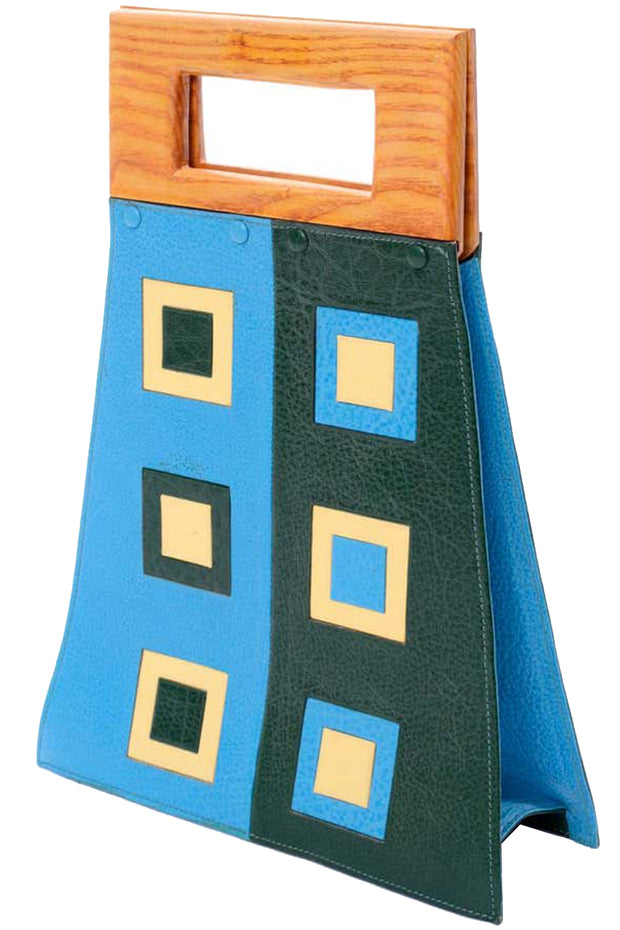 Unique Vintage Modernist Geometric Leather Art Handbag With Wallet