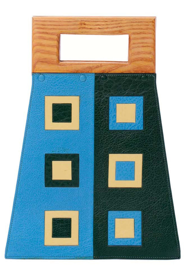 Blue & Green Vintage Modernist Geometric Leather Art Handbag With Wallet