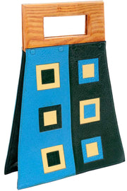 Vintage Modernist Geometric Leather Art Handbag With Wallet Blue & Green