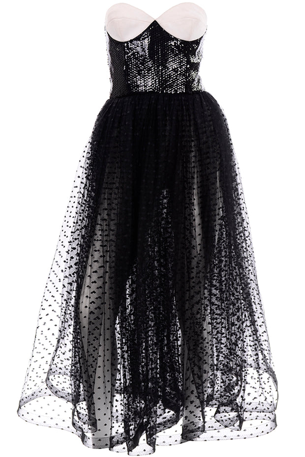 Vintage Bill Blass Tulle Sequin Strapless Dress