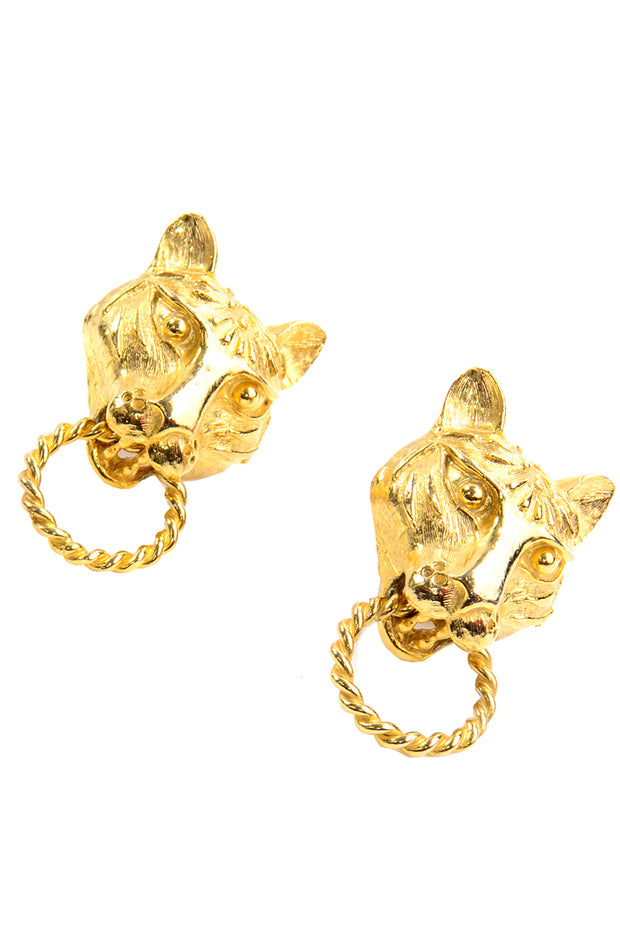 Kenneth J Lane vintage panther lion gold earrings