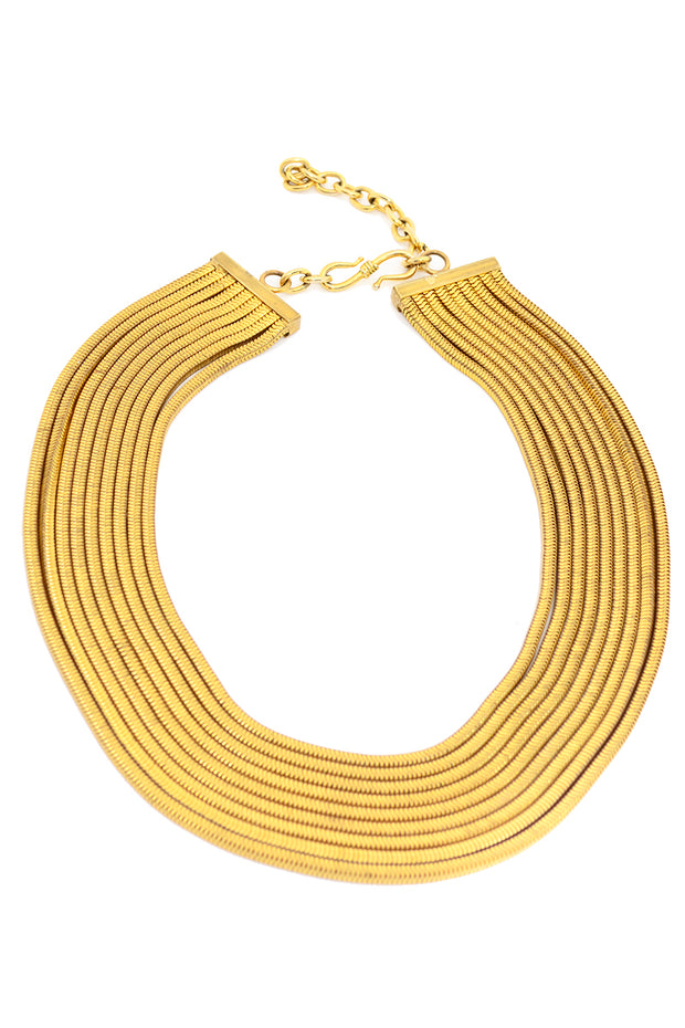 Gold Snake Chain Multi Strand Necklace