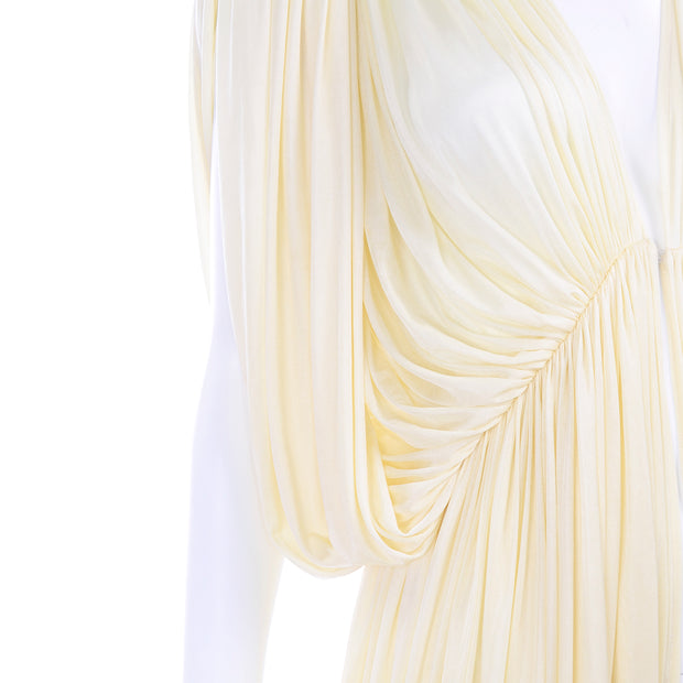 1970s Norma Kamali Attributed Cream Drape Butterfly Evening Dress 6