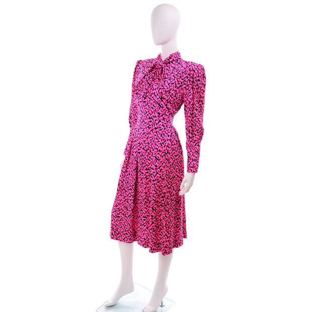 Pink Silk Vintage Day Dress w Pleats