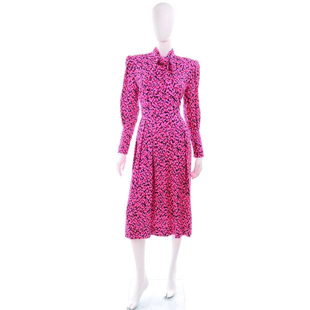 1980s Pauline Trigere Pussybow Dress