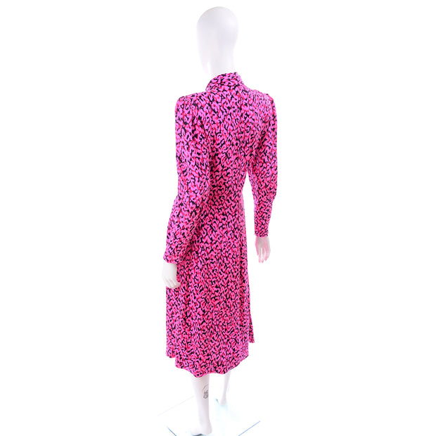 Pauline Trigere Pink Silk Dress w Matching Sash