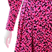 Pauline Trigere Pink Silk Dress w/ Red & Black Abstract Print & Sash