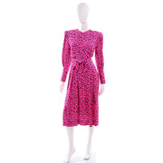 1980s Pauline Trigere Pink Silk Vintage Dress