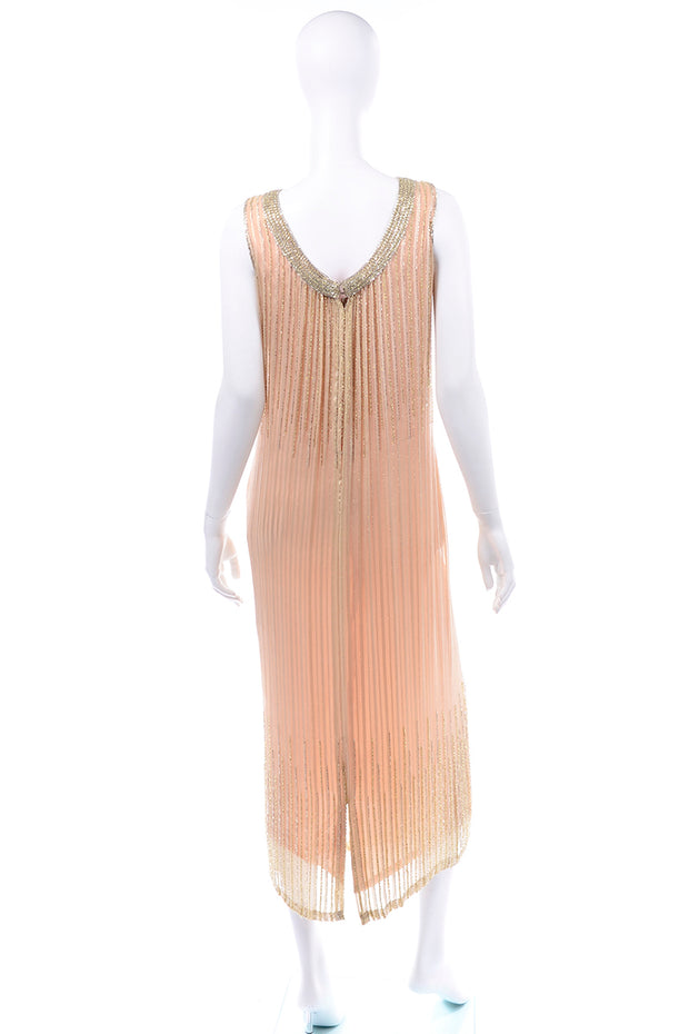 Vintage Claire Dratch boutique Beaded Peach silk dress with Gold lame 1990s