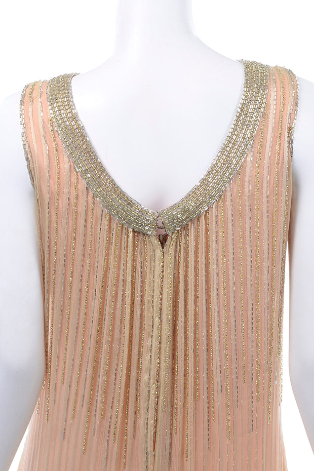 Vintage Claire Dratch boutique Beaded Peach silk dress with Gold lame Evening