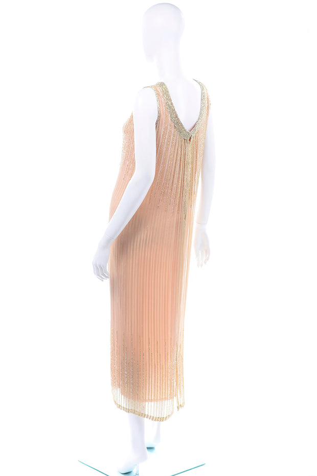 Vintage Claire Dratch boutique Beaded Peach silk dress with Gold lame stripes