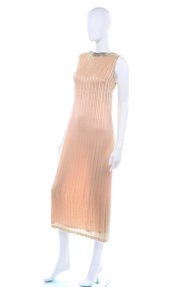 1990s Vintage Claire Dratch boutique Beaded Peach silk dress with Gold lame